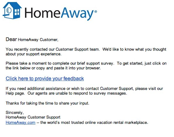 What 39 s the point an unactionable transactional survey for Customer survey email template