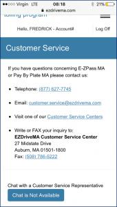 EZPass Customer Service Page
