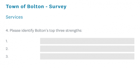 Town's Top 3 Strengths, Town Resident Survey