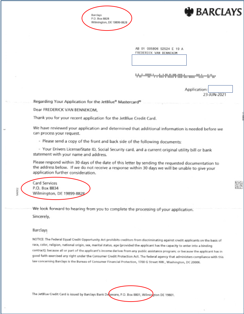 Barclay Rejection Letter
